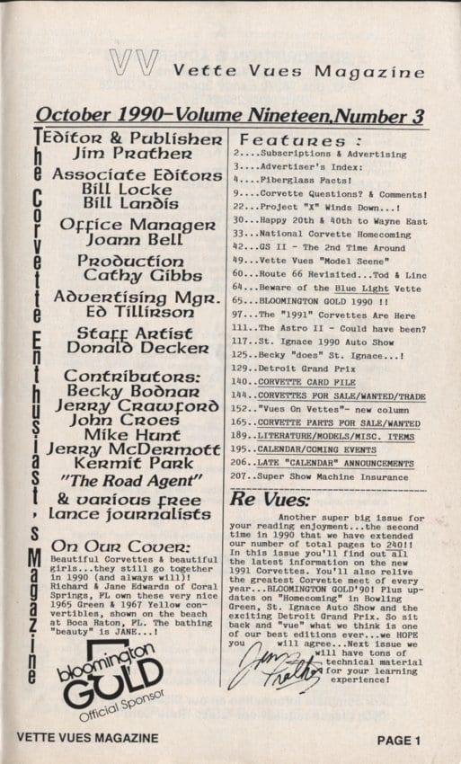 October 1990 Articles in Vette Vues Corvette Magazine