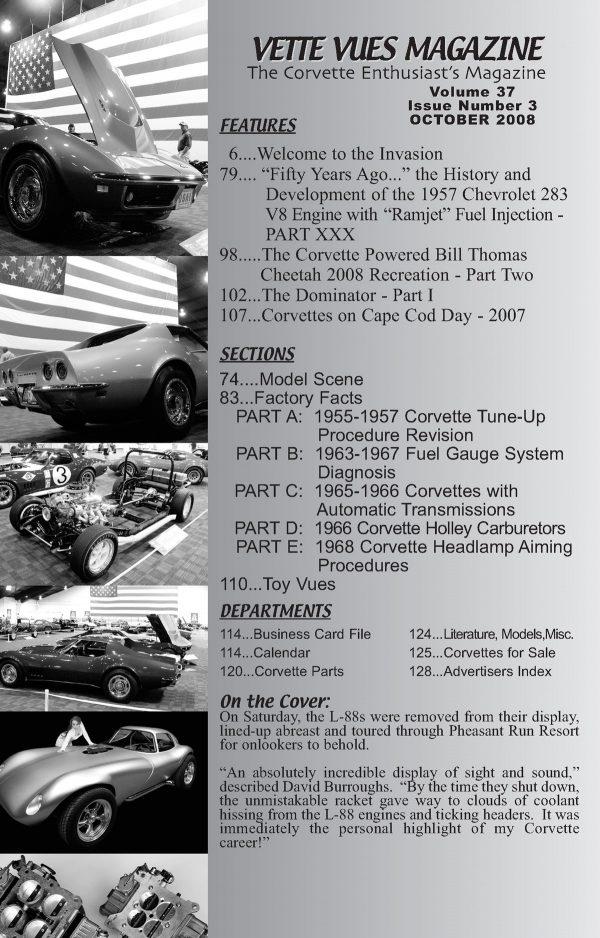 October 2008 Articles in Vette Vues Corvette Magazine