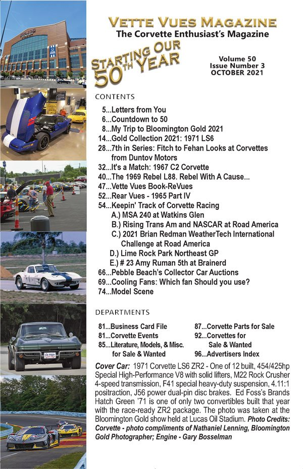 Articles in the October 2021 Issue, Vette Vues Magazine, #599, Volume 50, Issue Number 3