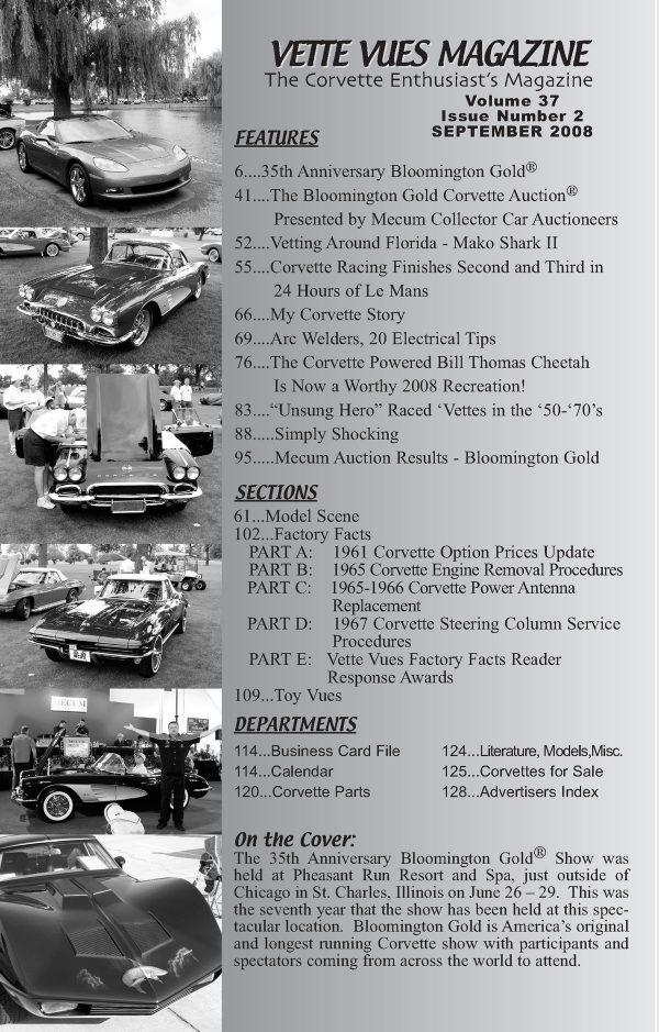 September 2008 Articles in Vette Vues Corvette Magazine
