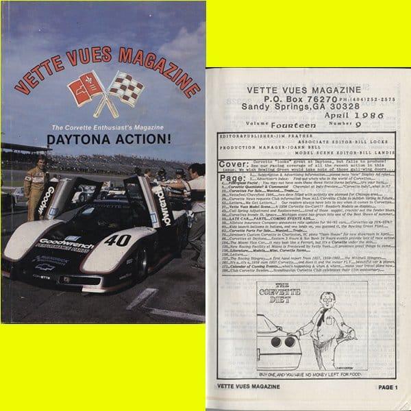 April 1986 Vette Vues Magazine Back Issue, Volume 14, Number 9