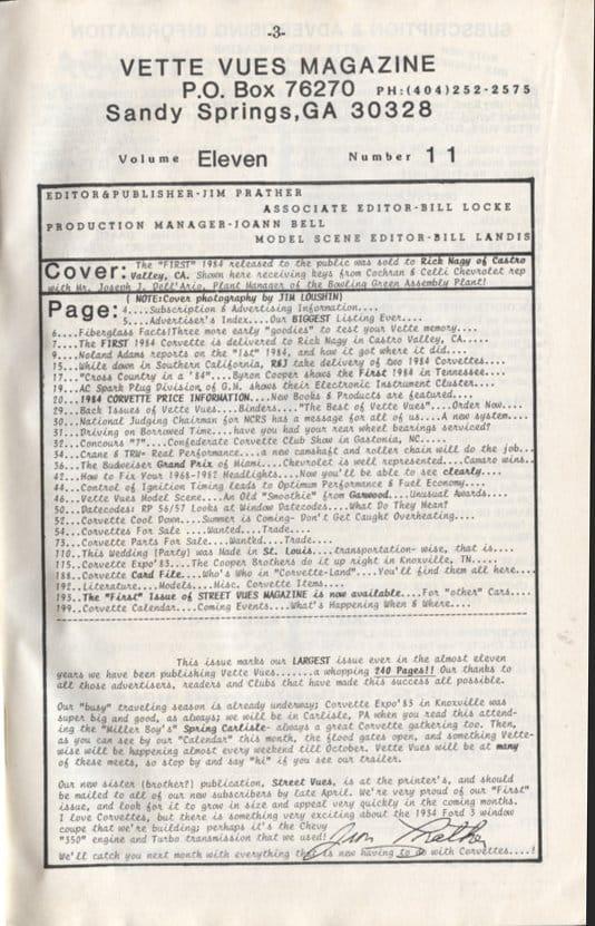 June 1983 Articles in Vette Vues Corvette Magazine