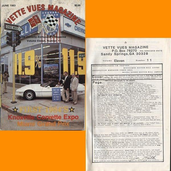 June 1983 Vintage Vette Vues Corvette Magazine Back Issue