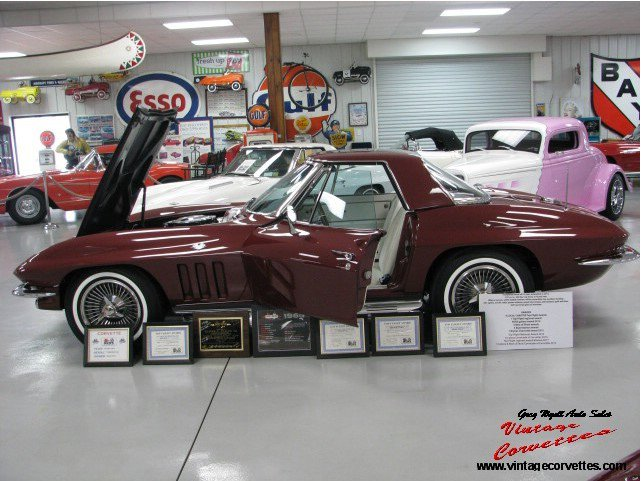 1965 Corvette Top Flight,  Convt., Milano Maroon, White Leather  Interior, White soft top, All Correct matching numbers, 327-350 hp, 4 Speed, Posi Rear  3.70, Both Tops, Knock Off Wheels, Power Antenna, Power Brakes, Dual Side Exhaust, Tinted Glass, AM/FM Radio, No Expense Spared Frame off Restoration To Show Condition 2012, 6 Time NCRS Top Flight, NCRS Gallery Award, 5 Best of Show, 3 Best Interior, 1 Bryner Chevrolet award, 1st Place Cavalcade of Corvettes 2016, 1st Place Best of Show Cavalcade of Corvettes 2017, NCRS Gallery XIV  Corvettes 2014, All Glove Box paperwork, Best 350hp Milano Maroon Top Flight Roadster on the Planet,  Show or Drive. www.vintagecorvettes.com 706 857-3916