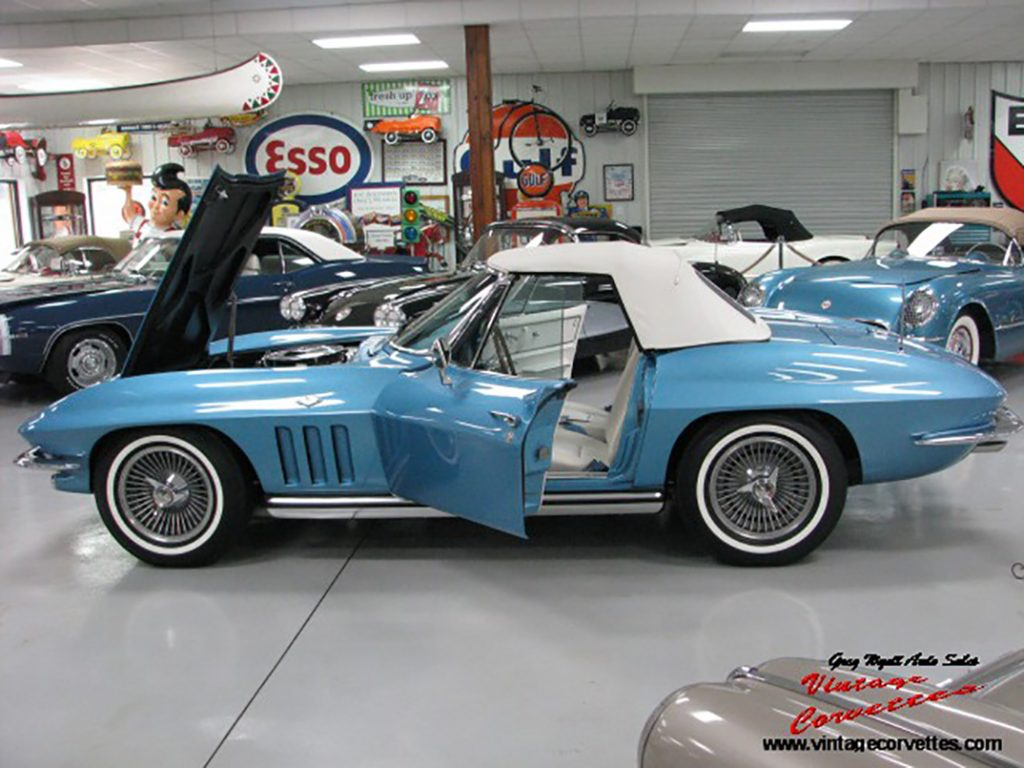 1965 Corvette, Nassau Blue, Blue /White Leather Interior, White Soft Top, All Correct Matching Numbers 327-365hp, 4 Speed, Posi Rear, Power Brakes, Real Teak Steering Wheel, Telescopic Steering Column, NOS Off-Road Exhaust, Real K-H Knock off Wheels, Dated 1965, F-40 Suspension, Duntov Signature on Air Cleaner, NCRS Shipping Data Report, Car bought New in Monroe NC, Some Restoration Photos, Full Frame Off Restored in 2018, Nice Color Combo for 1965 Corvette, Show or Drive   www.vintagecorvettes.com  706 857-3916