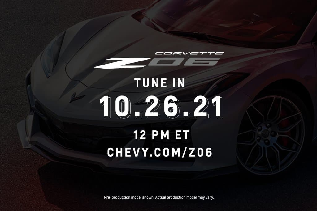 2023 Chevrolet Corvette Z06 reveal will be shown on Oct. 26 at 12 p.m. EDT on Chevy.com