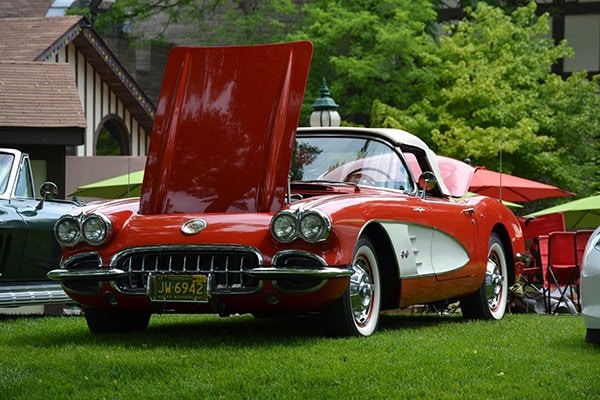 Here is an absolutely beautiful two tone red Corvette convertible!