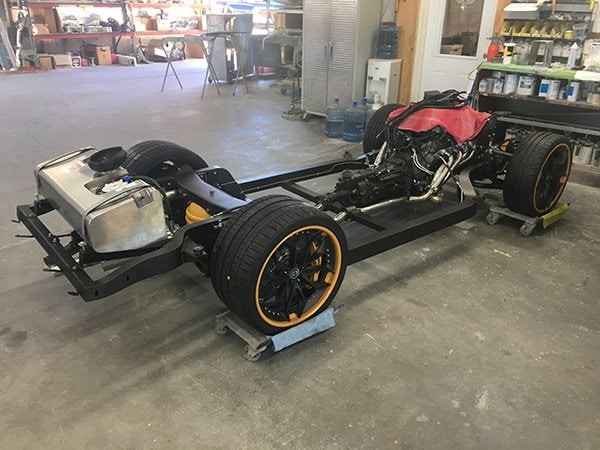 """This updated chassis by the Roadster Shop is representative of this category. Seen here is the chassis used for the 2017 SEMA """"Corvette Menace' show car"""